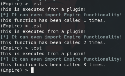 The output of a test command added to Empire by the example plugin