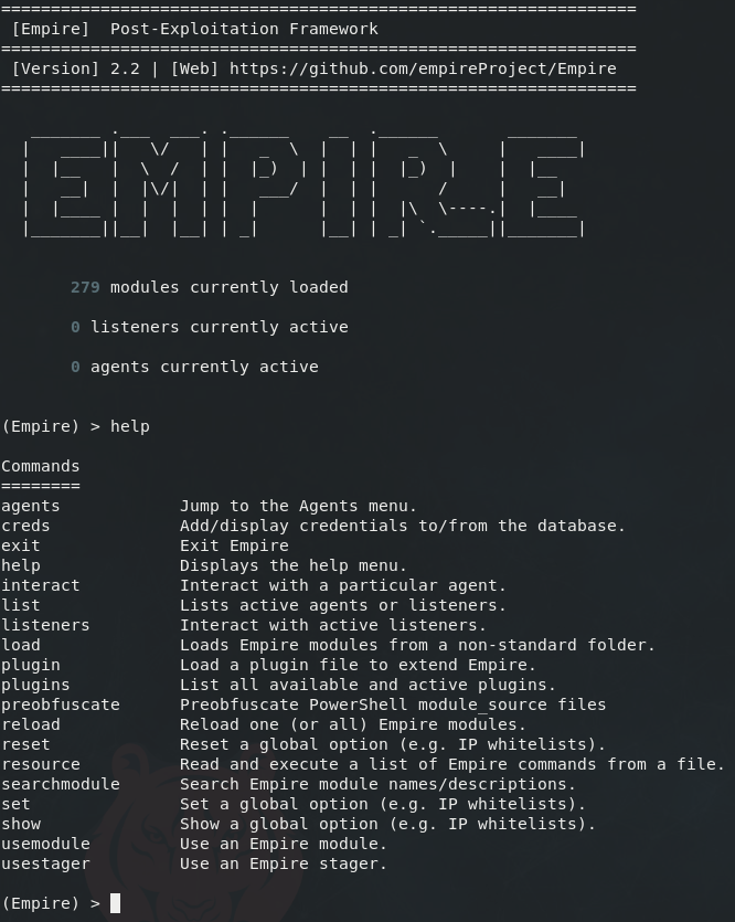 Empire's help output immediately after starting Empire on the command line